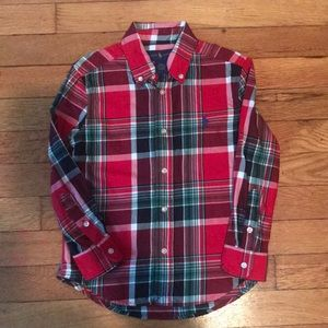 Red toddler button down shirt